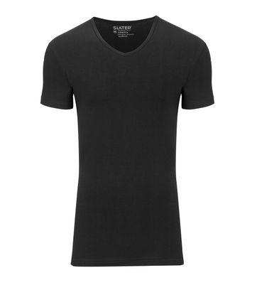 Slater 2er-Pack Stretch V-Ausschnitt T-shirt Schwarz