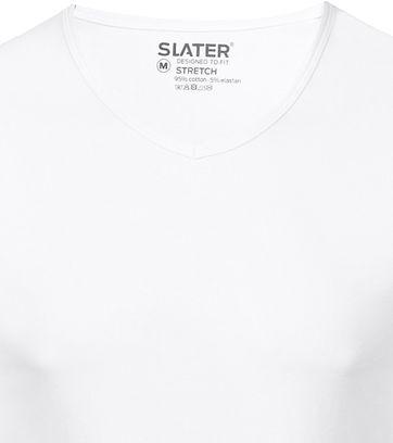 Slater 2er-Pack Stretch V-Ausschnitt T-shirt Weiß