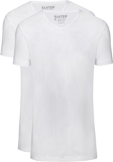 Slater 2er-Pack T-shirt Basic Extra Lang V-Ausschnitt Weiß