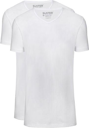 Slater 2er-Pack T-shirt Basic Extra Lang V-neck Weiß