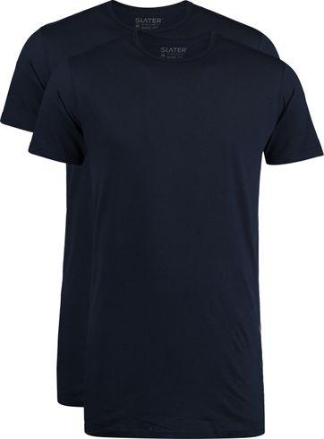 Slater 2er-Pack T-shirt Extra Lang R-Neck Dunkelblau