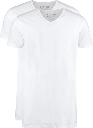 Slater 2er-Pack T-shirt Extra Lang V-neck Weiß