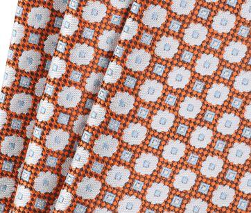 Detail Stropdas Zijde Bloem Oranje 9-17