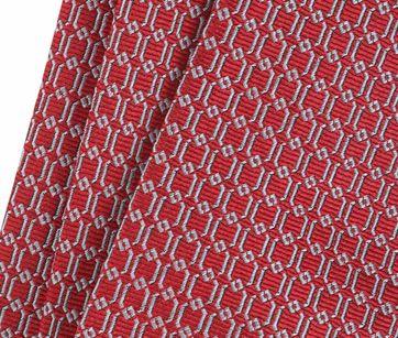 Detail Stropdas Zijde Dessin Rood Grid