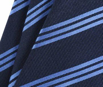 Detail Stropdas Zijde Navy Blauw Strepen
