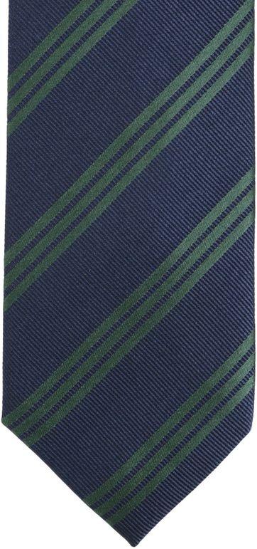 Detail Stropdas Zijde Strepen Navy Groen