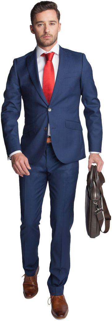 Suitable Anzug Shaw Navy Herring