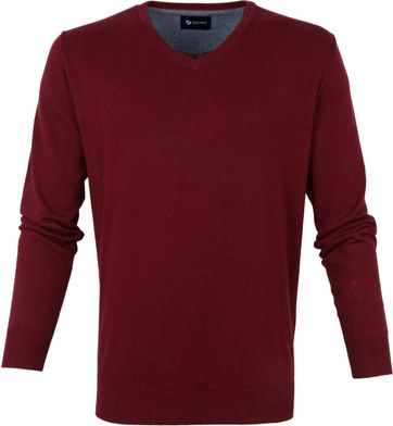 Suitable Baumwolle Vini Pullover V-Ausschnitt Bordeaux