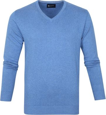 Suitable Baumwolle Vini Pullover V-Ausschnitt Mid Blue