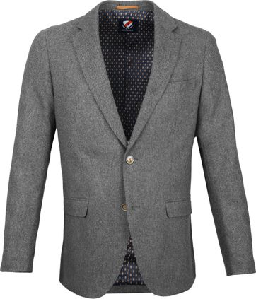 Suitable Blazer Nibe Grijs Herringbone