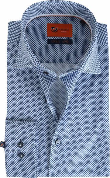 Suitable Blue Dress Print Slim Fit D61-15