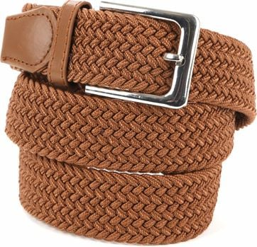 Suitable Braided Belt Taupe Cognac