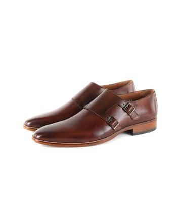 Suitable Braun Leder Schuh Doppel Strap