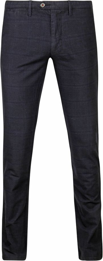 Suitable Chino Sartre Ruit Donkerblauw