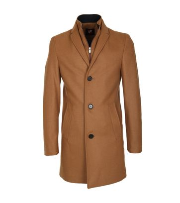 Suitable Coat Hans Wol Camel