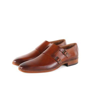 Suitable CognacLeder Schuh Doppel Strap