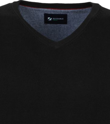 Suitable Cotton Vini Pullover V-Neck Black