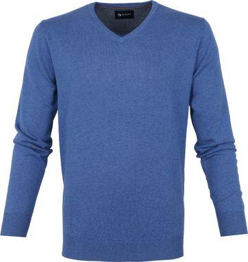 Suitable Cotton Vini Pullover V-Neck Blue