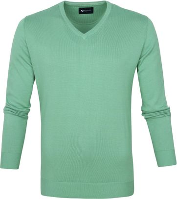 Suitable Cotton Vini Pullover V-Neck Light Green