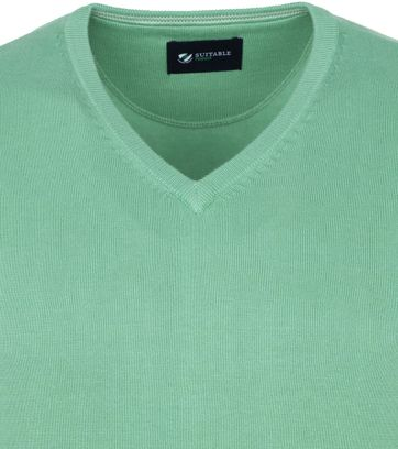Suitable Cotton Vini Pullover V-Neck Light Green
