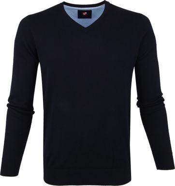 Suitable Cotton Vini Pullover V-neck Navy