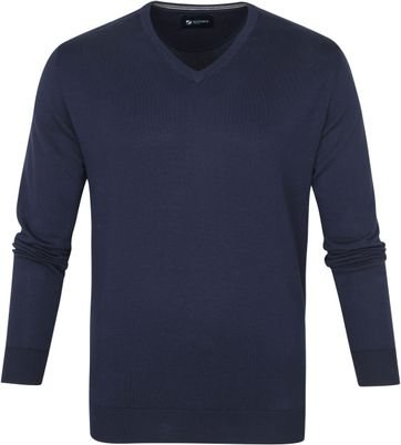 Suitable Cotton Vini Pullover V-Neck Navy
