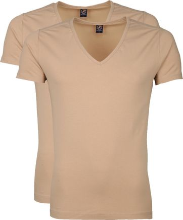 Suitable Deep V-Neck 2-Pack T-shirts Beige