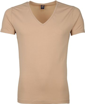 Suitable Deep V-Neck 4-Pack T-shirts Beige