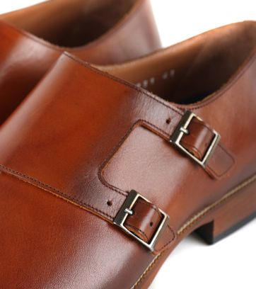 Suitable Double Monk Strap Schoen Cognac