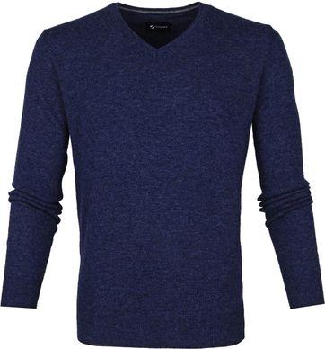 Suitable Fijn Lamswol 12 garen Pullover V-Hals Donkerblauw
