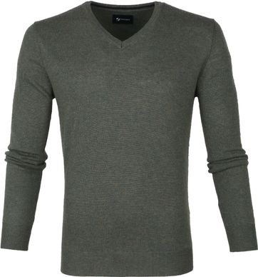 Suitable Fijn Lamswol 12g Pullover V-Hals Groen