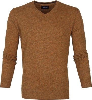 Suitable Fijn Lamswol 12g Pullover V-Hals Okergeel
