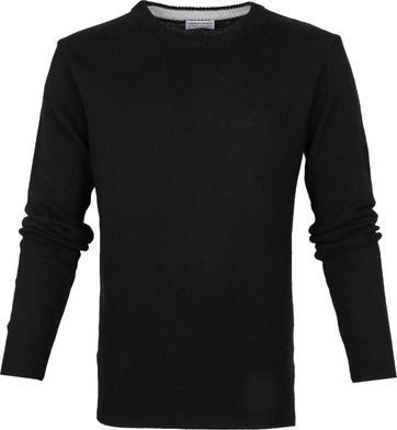 Suitable Fijn Lamswol 7 garen Pullover O-Hals Zwart