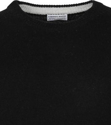 Suitable Fijn Lamswol 7g Pullover O-Hals Zwart