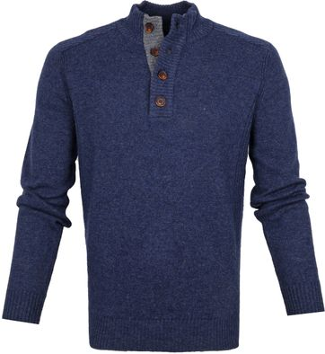 Suitable Fijn Lamswol 9g Mocker Pullover Donkerblauw