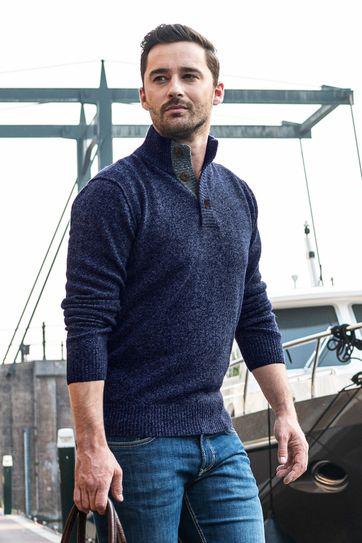 Suitable Fijn Lamswol 9g Mocker Pullover Donkerblauw
