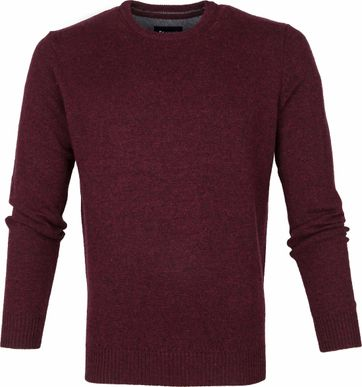 Suitable Fijn Lamswol 9g Pullover O-Hals Bordaux Rood