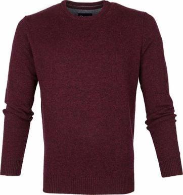Suitable Fijn Lamswol 9g Pullover O-Hals Bordaux Rood
