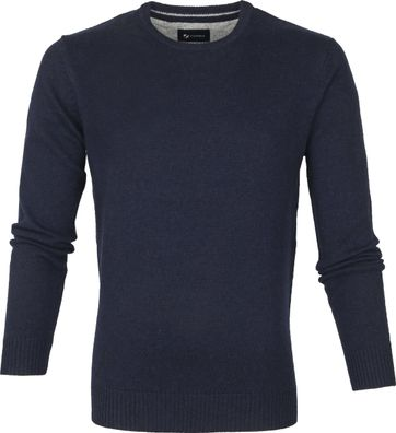 Suitable Fijn Lamswol 9g Pullover O-Hals Donkerblauw