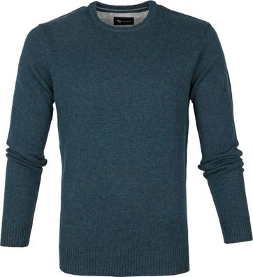 Suitable Fijn Lamswol 9g Pullover O-Hals Donkergroen