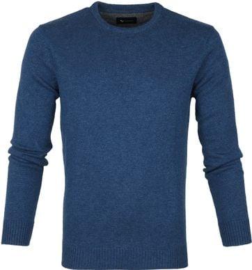 Suitable Fijn Lamswol 9g Pullover O-Hals Petrol Blauw