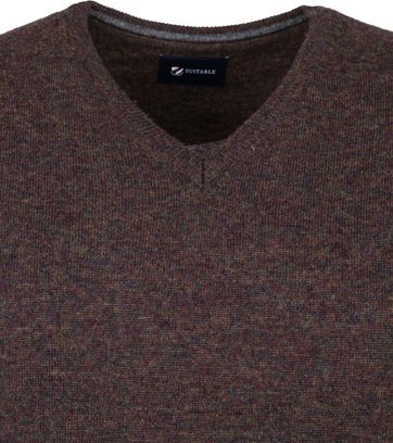 Suitable Fine Lambswool 12 gauge Pullover V-Neck Brown