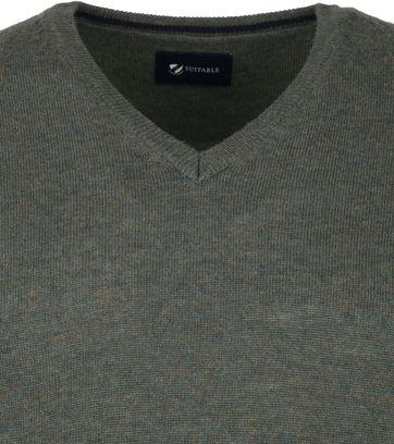 Suitable Fine Lambswool 12 gauge Pullover V-Neck Green