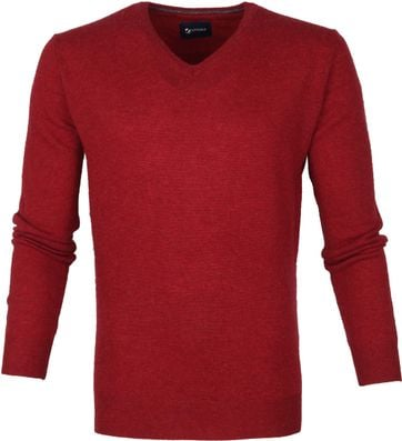 Suitable Fine Lambswool 12 gauge Pullover V-Neck Red