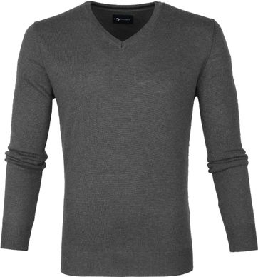 Suitable Fine Lambswool 12g Pullover V-Neck Anthracite