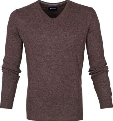 Suitable Fine Lambswool 12g Pullover V-Neck Brown