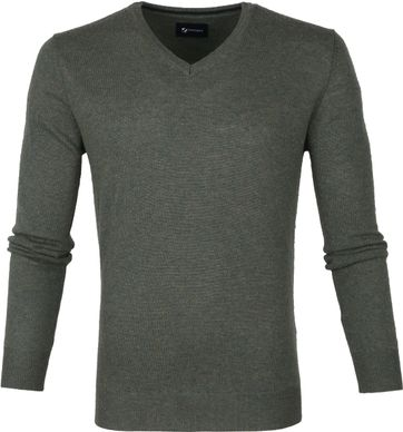 Suitable Fine Lambswool 12g Pullover V-Neck Green