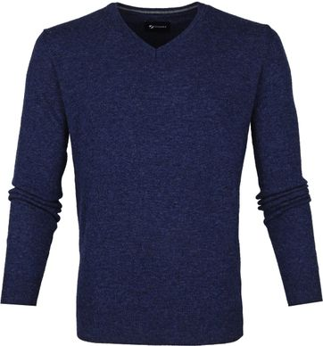 Suitable Fine Lambswool 12g Pullover V-Neck Navy