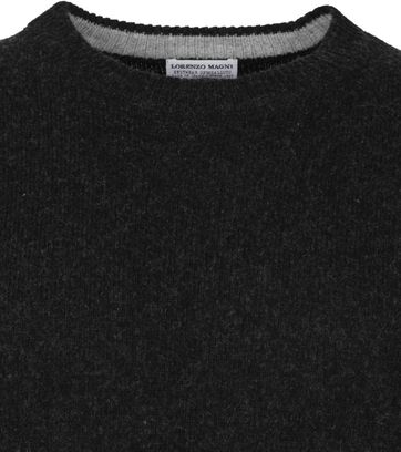 Suitable Fine Lambswool 7 gauge Pullover O-Neck Anthracite