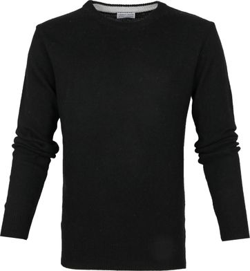 Suitable Fine Lambswool 7g Pullover O-Neck Black